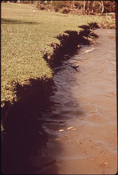 Topsoil lost in flood of the Guadalupe river,