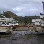 Electric bucket trucks for electric grid repair n Puerto Rico